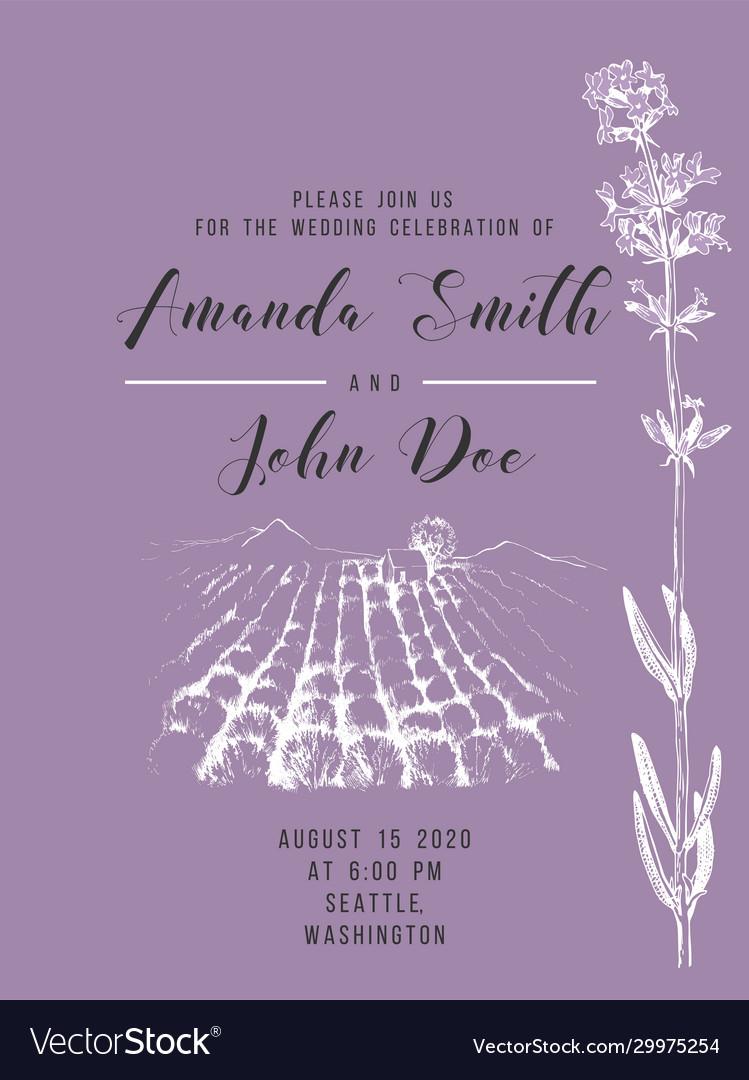 Wedding invitation with lavender field