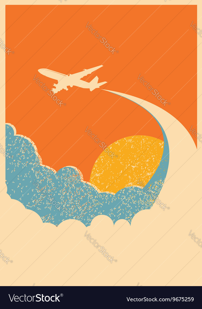 Airplane flying in sky background