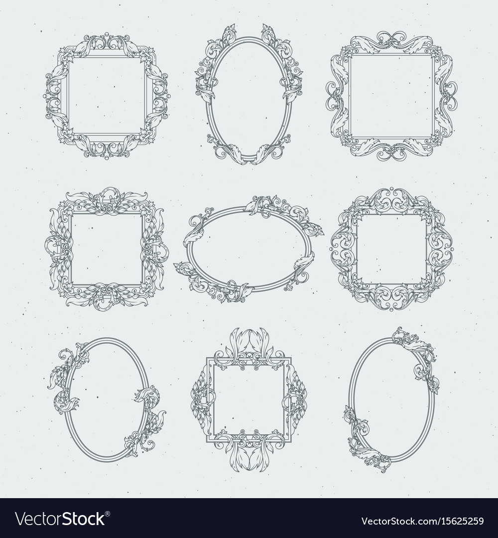 Antique victorian picture frames set in vector image