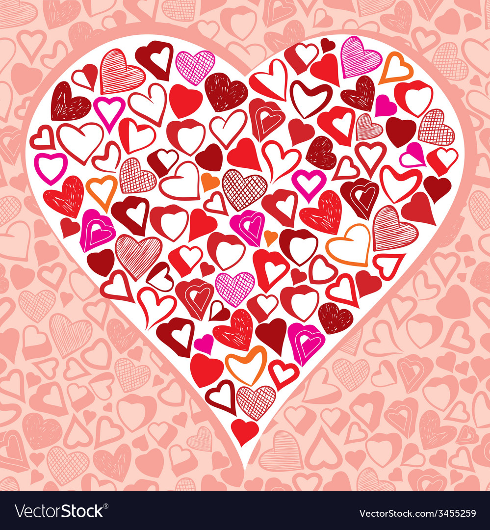 Big heart made with lots of different small hearts vector image