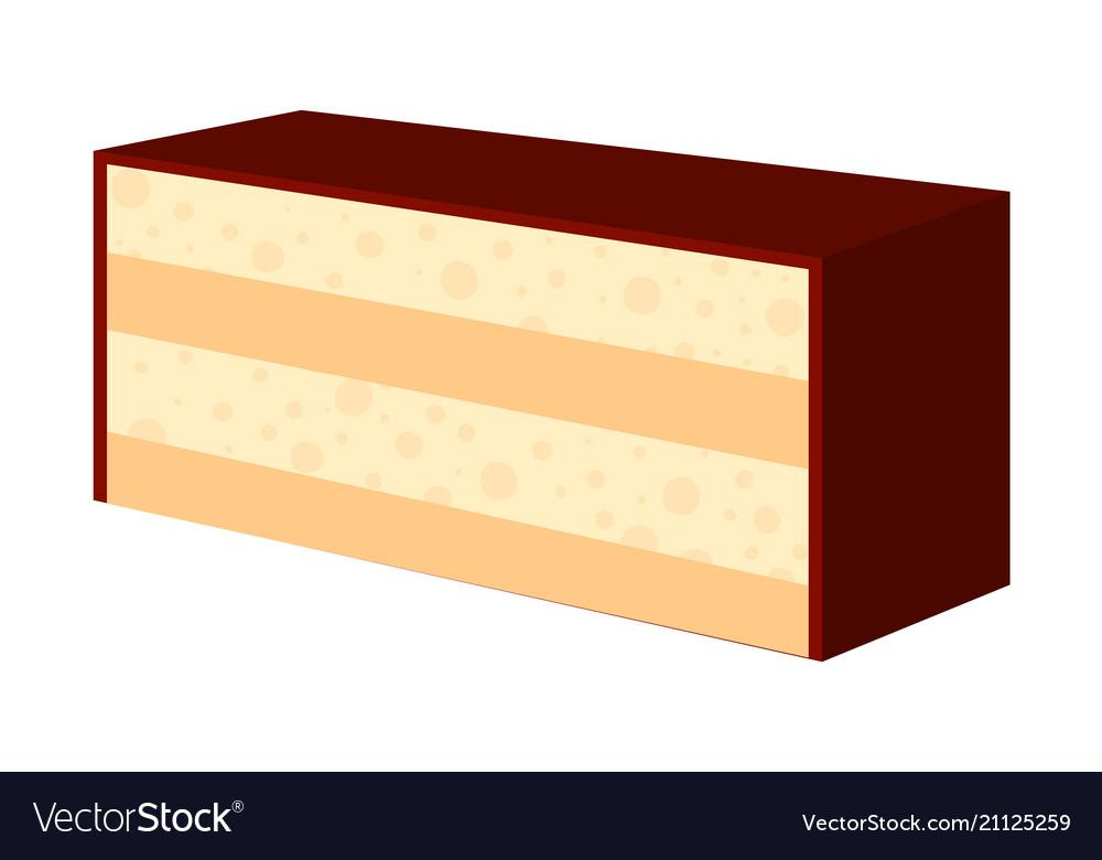 Colorful cartoon chocolate cake slice