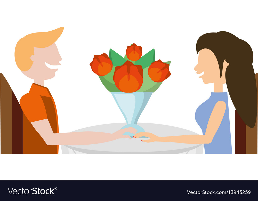 Couple romantic sitting with flowers image