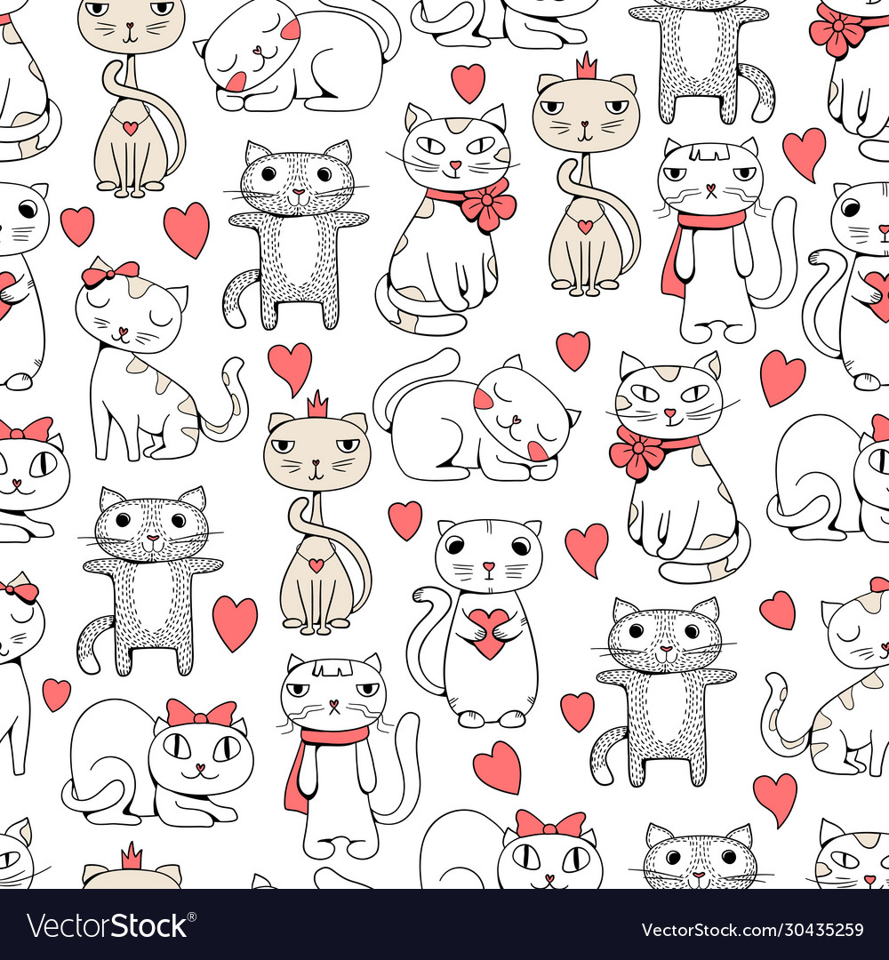 Cute cats seamless funny pets doodle pattern