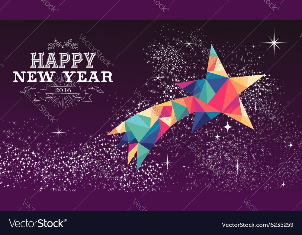 Happy new year 2016 star triangle hipster color vector image