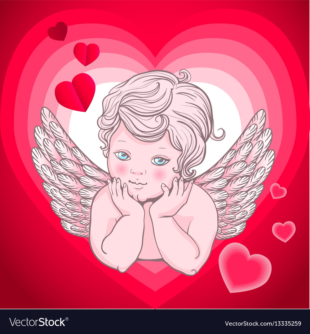 Little angel with wings cupid heart