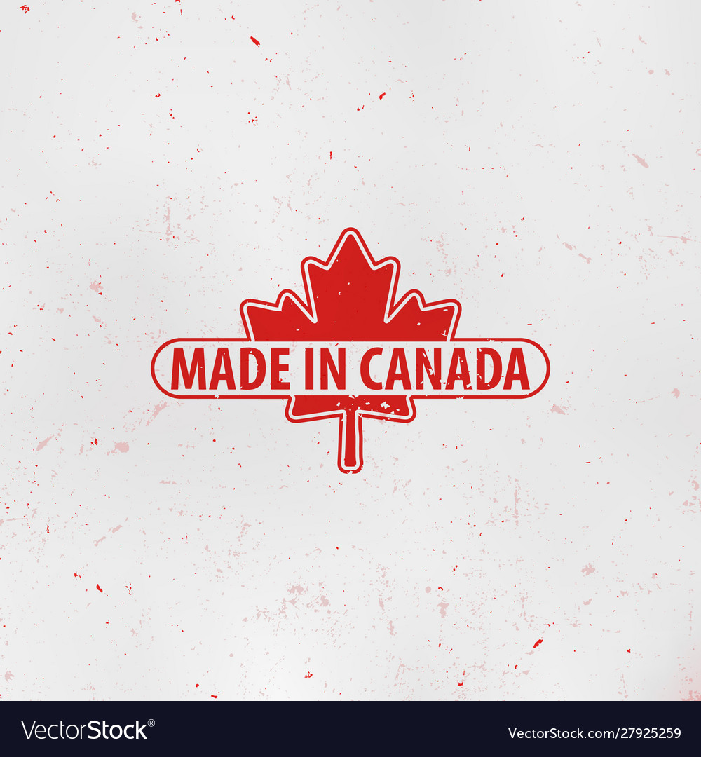 Made in canada emblem maple leaf red stamp