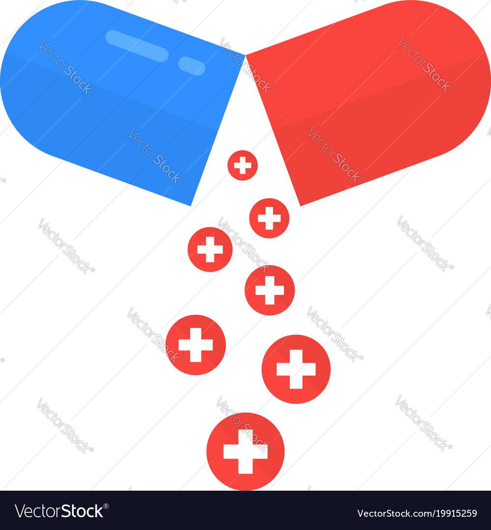 Open pill like health care metaphor vector image