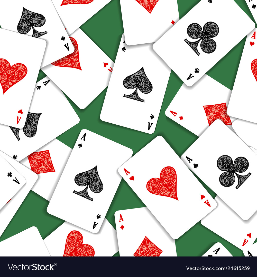 Playing cards on green table seamless pattern