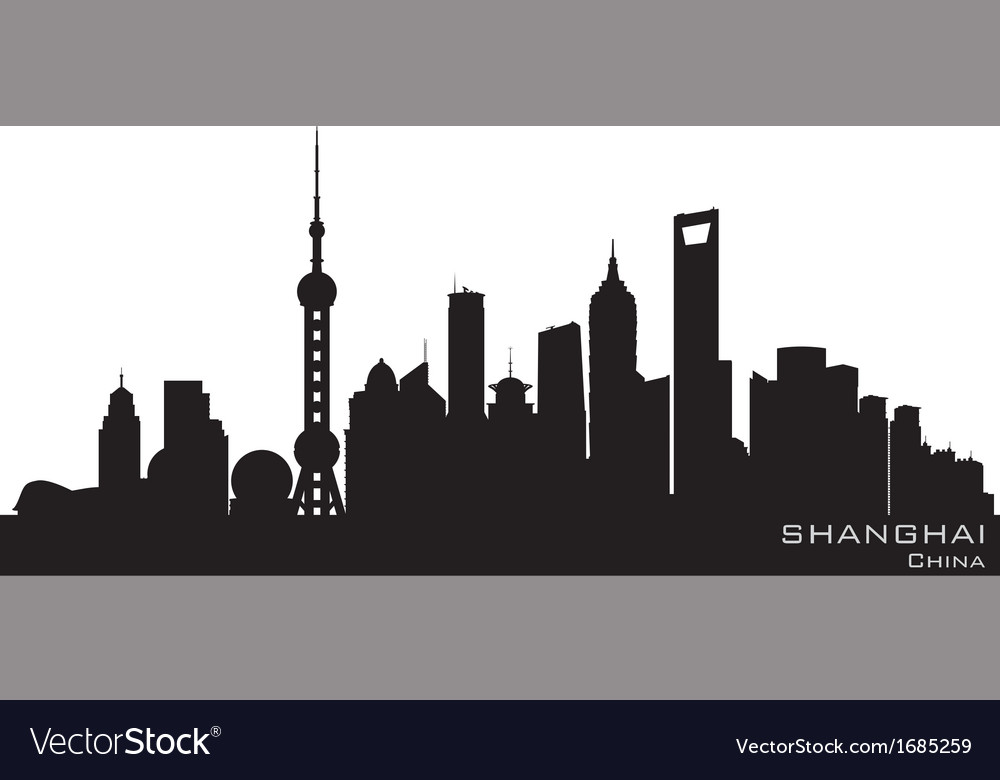 Shanghai China skyline Detailed silhouette vector image
