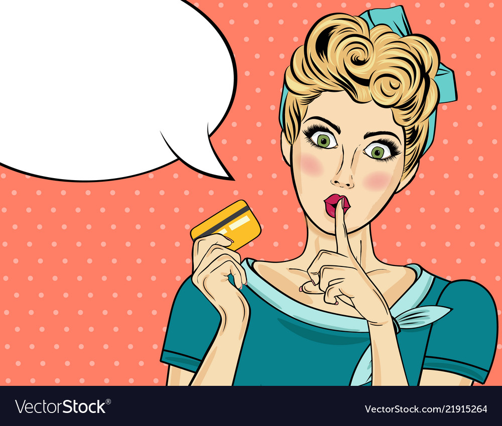 Beautiful woman in pop art style with credit card