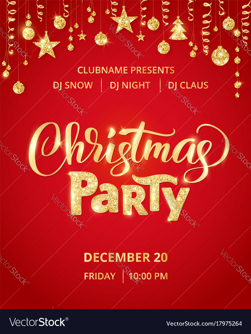 Christmas Party Poster Template Hand Written