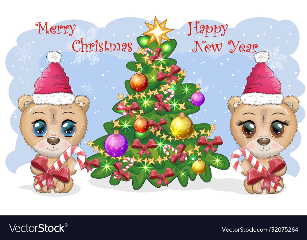 Couple Cute Cartoon Bear With Big Eyes In A Vector Image