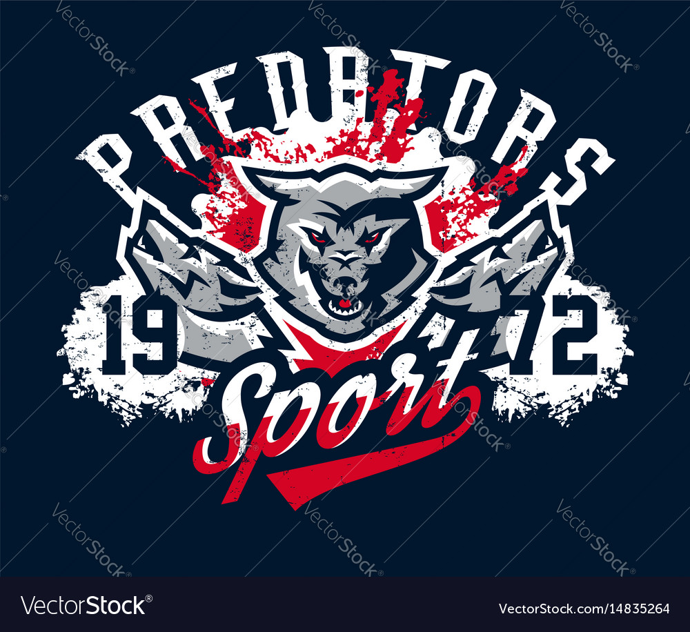 Design For Printing On T Shirts Aggressive Wolf Vector Image