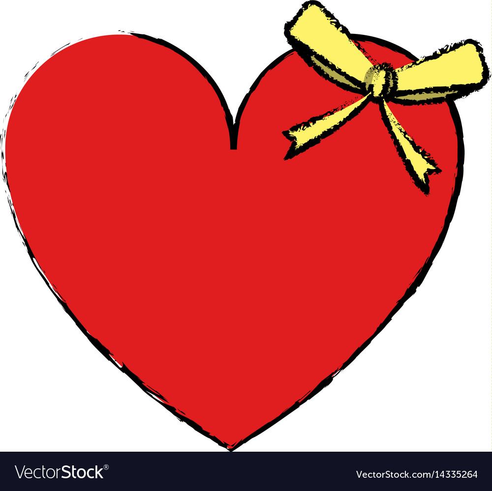 Drawing Cute Love Heart Passion With Bow Vector Image