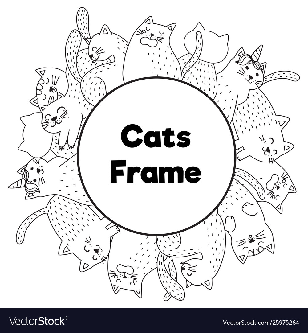 Frame with funny cats in coloring page style