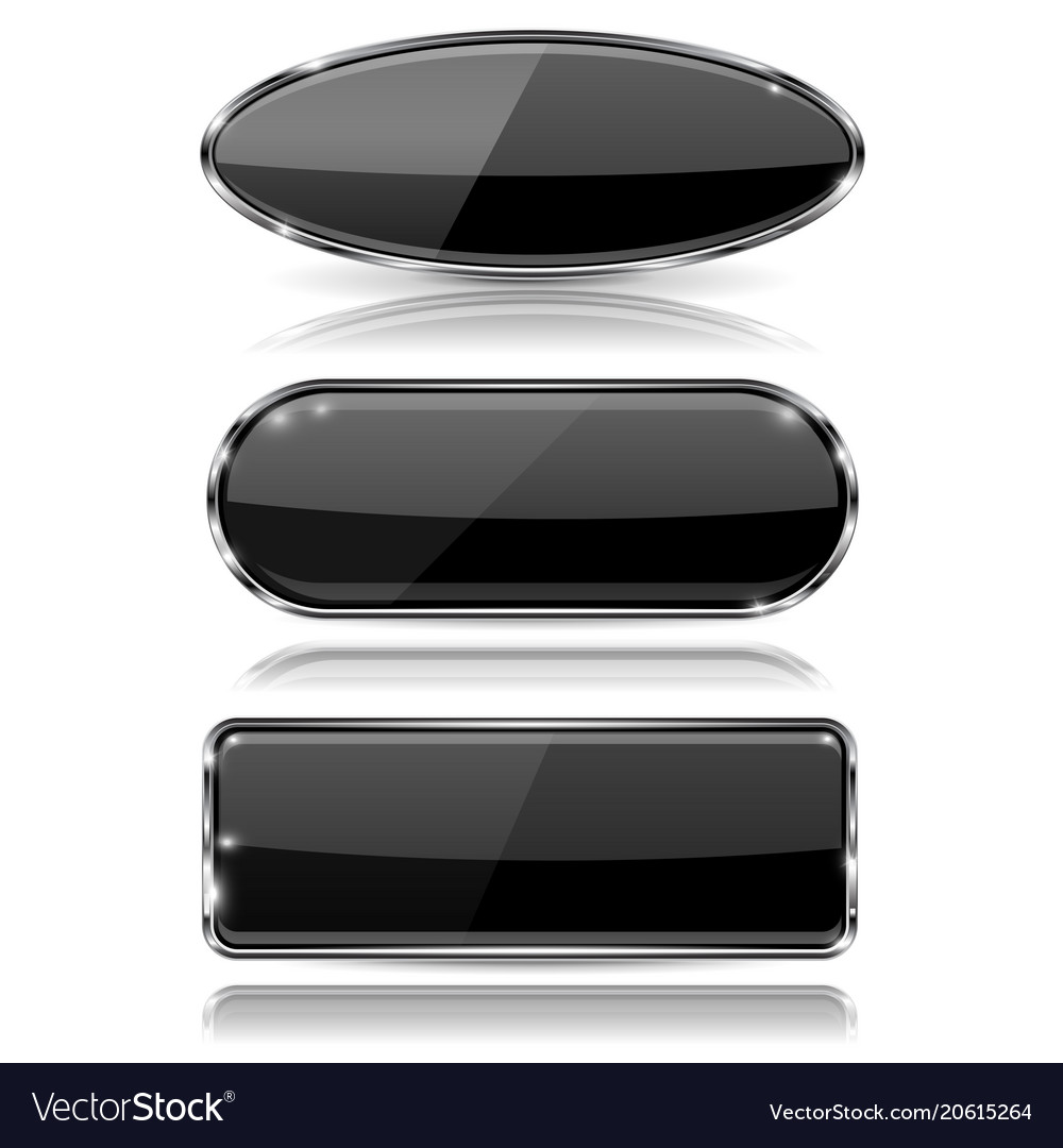 Glass black buttons 3d web icons with metal frame