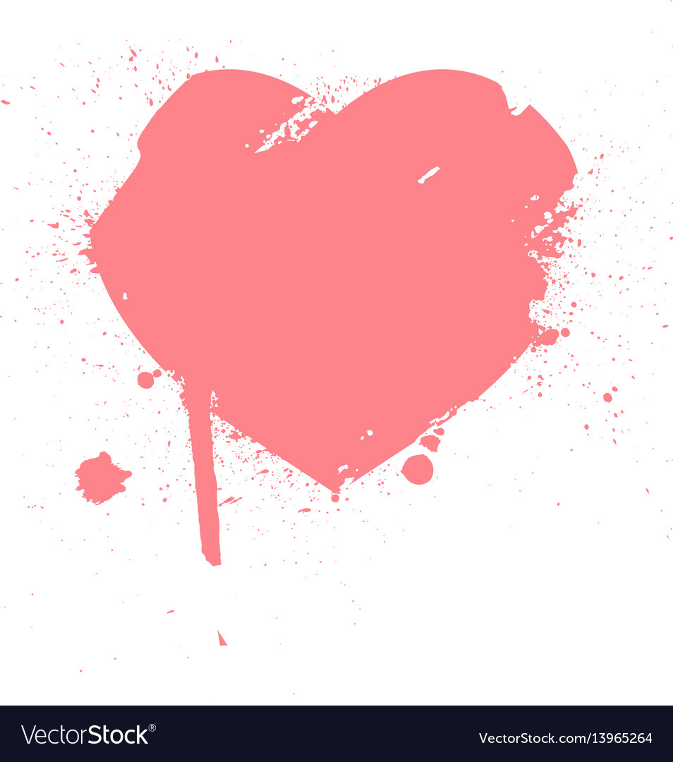 Heart from brush strokes grunge distressed
