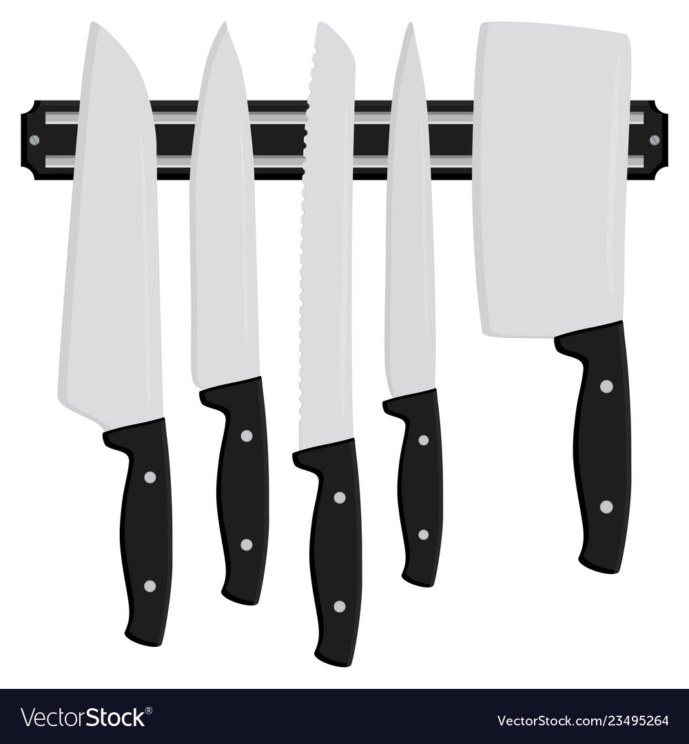 On Theme Big Colored Set Different Types Knives Vector Image