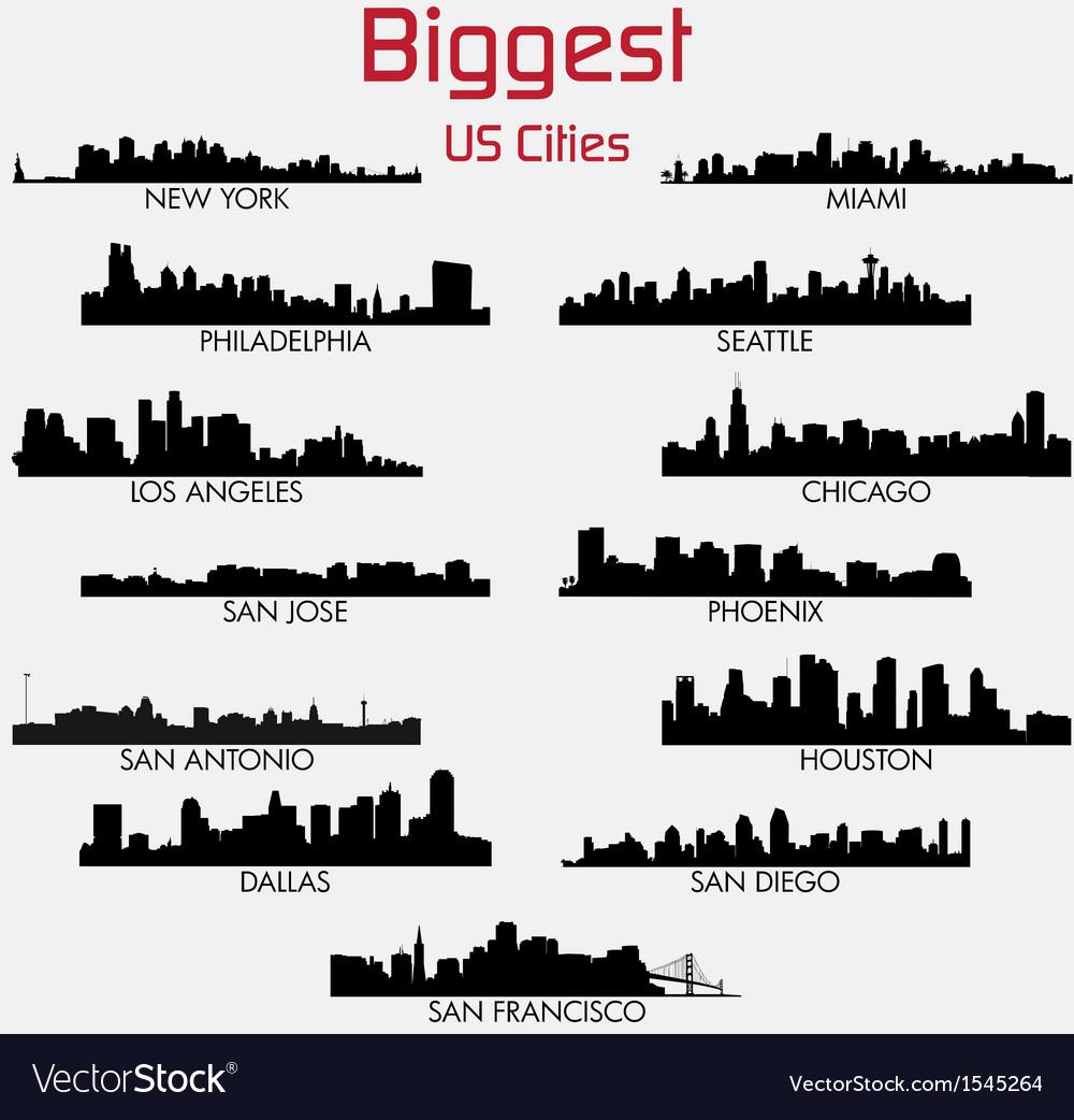 Set of Biggest American cities skylines vector image