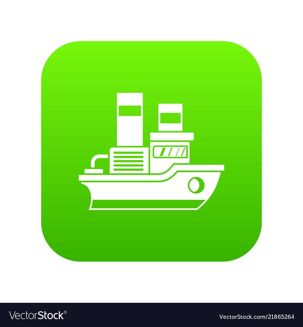 Small ship icon digital green