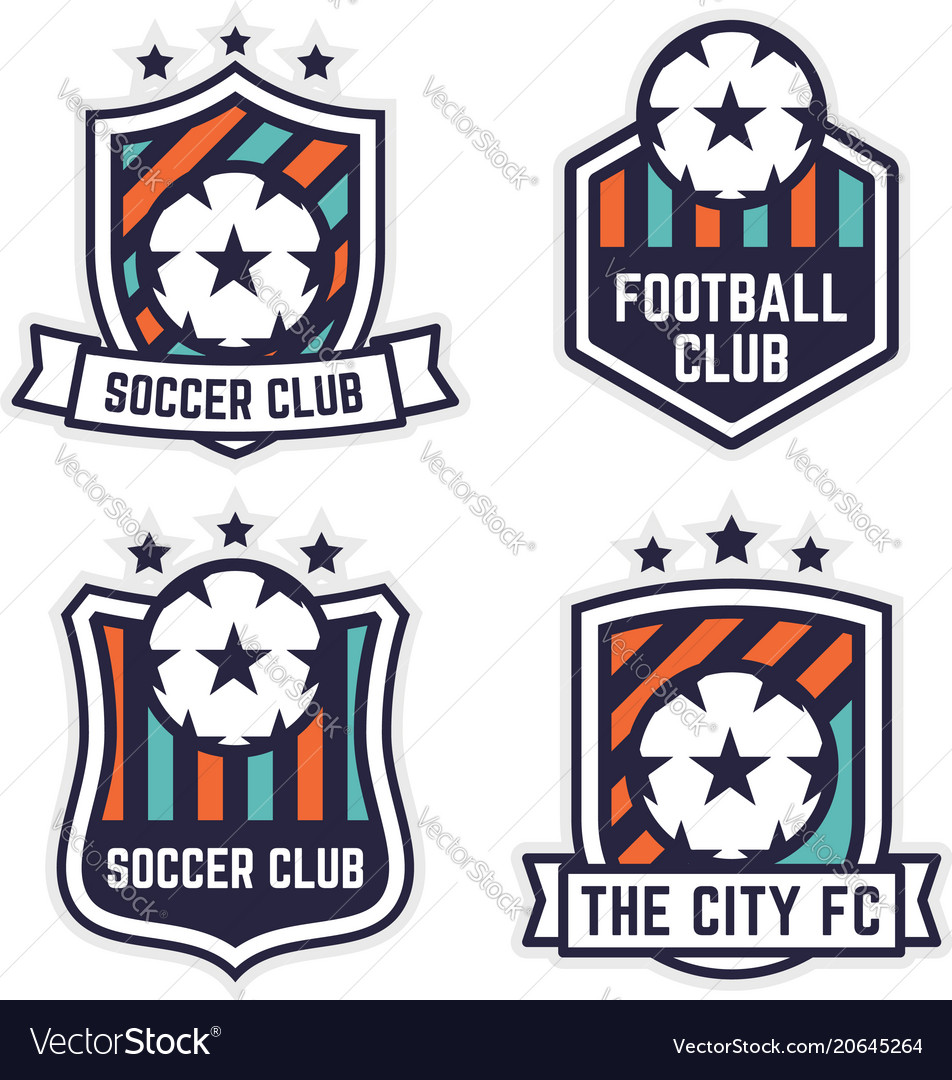 Soccer or football club logo or badge set