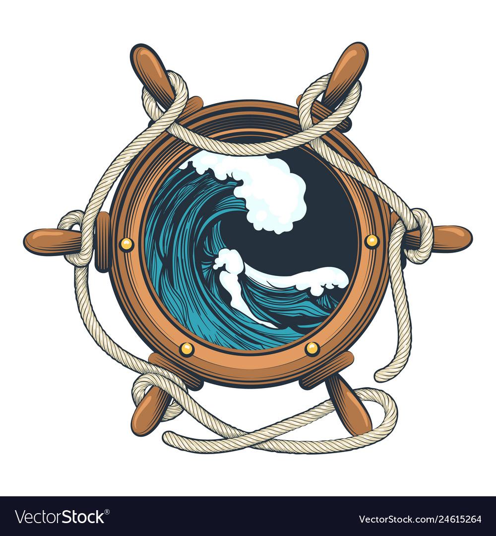 Wessel steering wheel with ocean wave inside