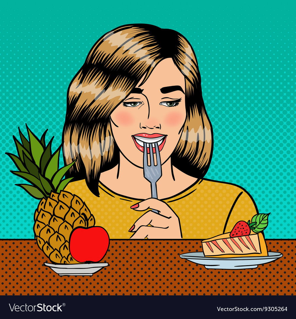 Woman Choosing Food Between Fruits and Cheesecake vector image