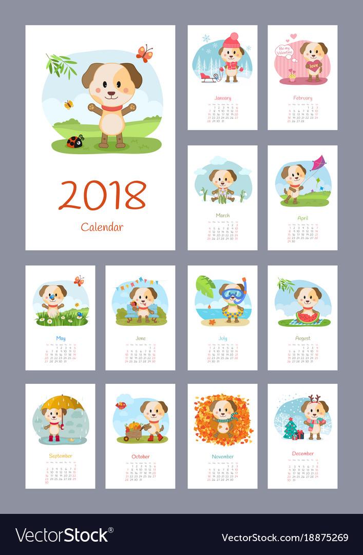 Calendar 2018 year with dog