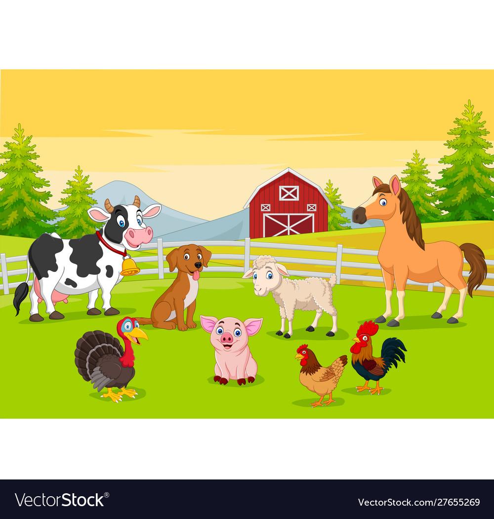Cartoon farm animals in farming background