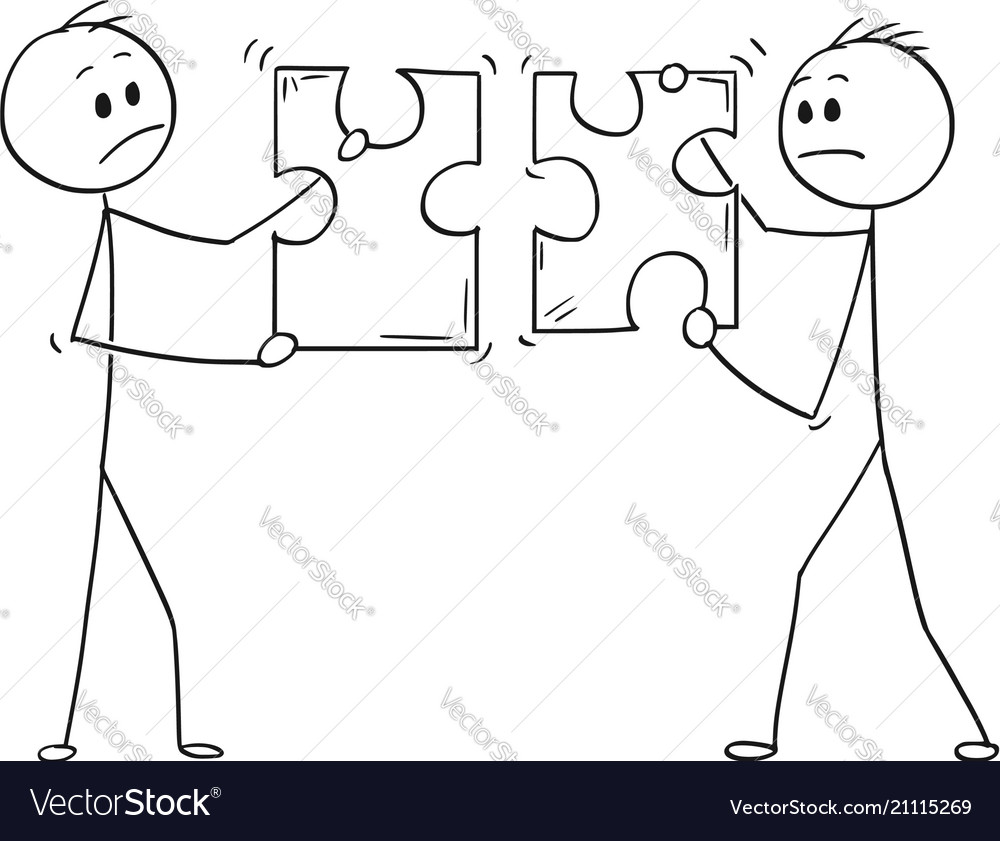 Cartoon of two businessmen holding unmatching