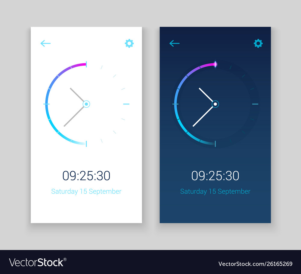 Clock mobile app concept ui design day and night