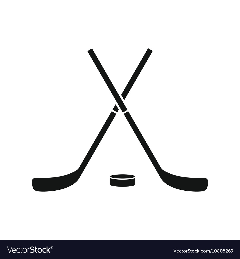 crossed hockey sticks and puck icon simple style vector image rh vectorstock com field hockey stick vector free download hockey stick vector free download