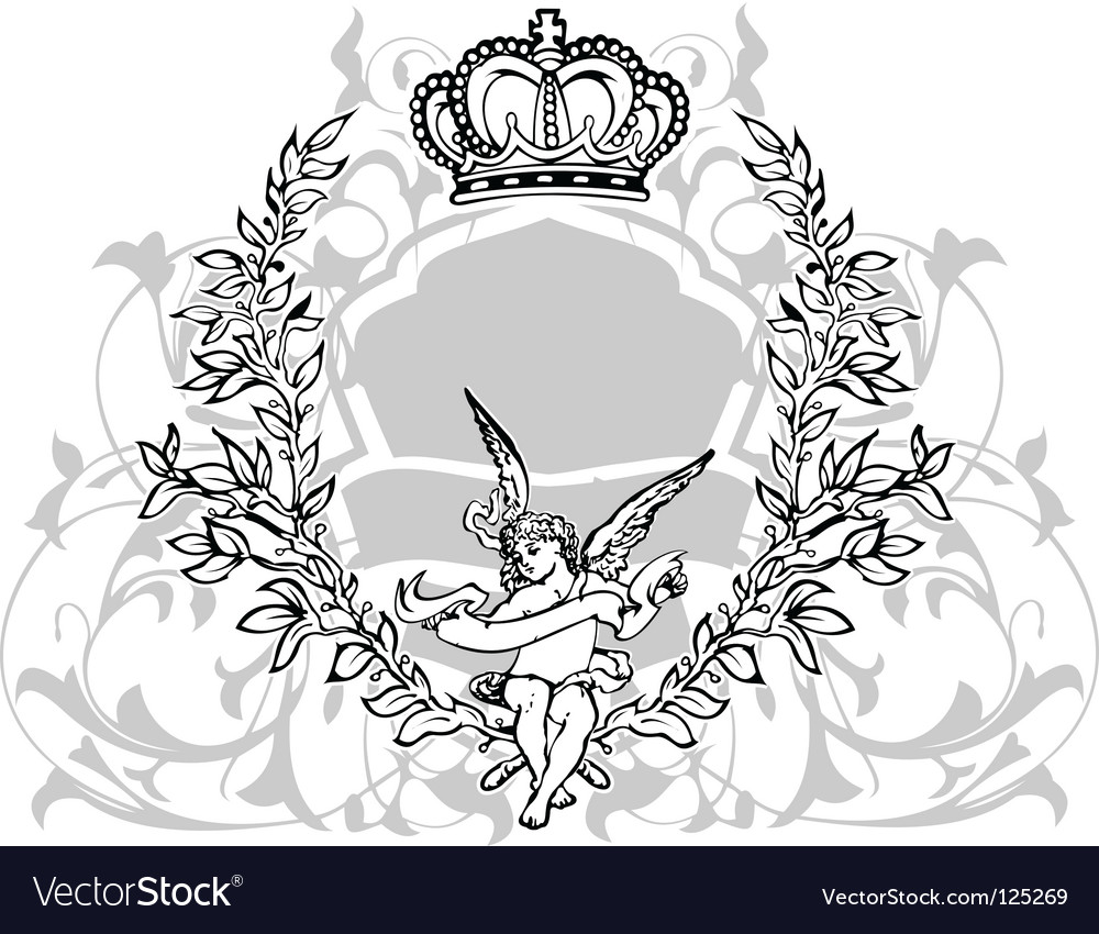 Crowned cupid vector image