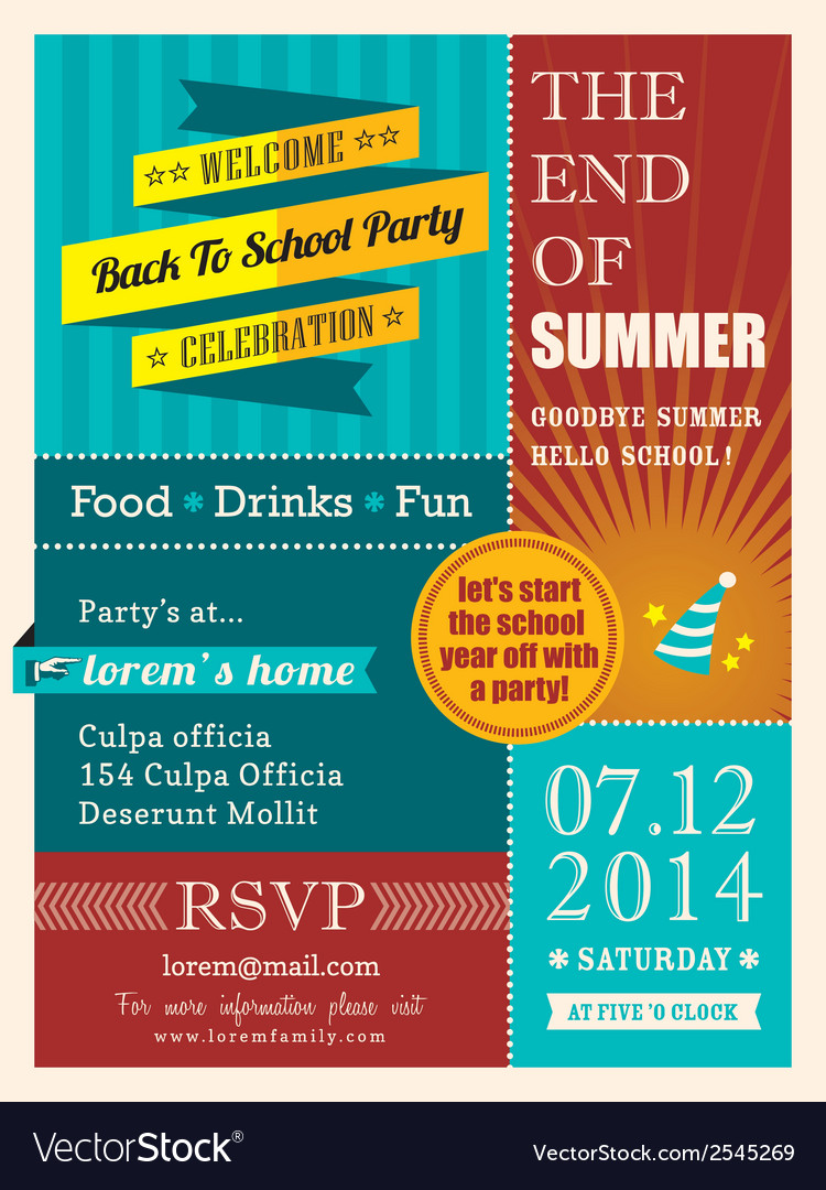 end of summer party poster or card design template. Black Bedroom Furniture Sets. Home Design Ideas