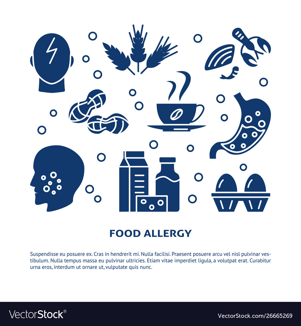 Food allergy banner template with place for text