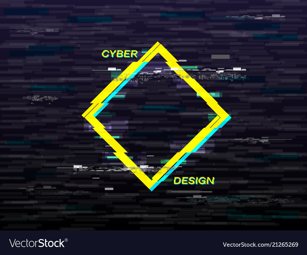 Glitch concept yellow and blue rhombus retro vhs