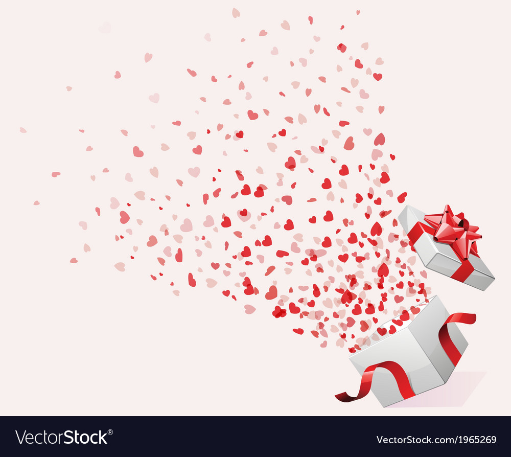 Hearts Fountain from Gift Box vector image