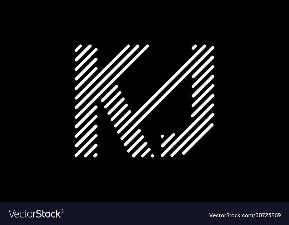 Initial Monogram Letter K J Logo Design Template Vector Image