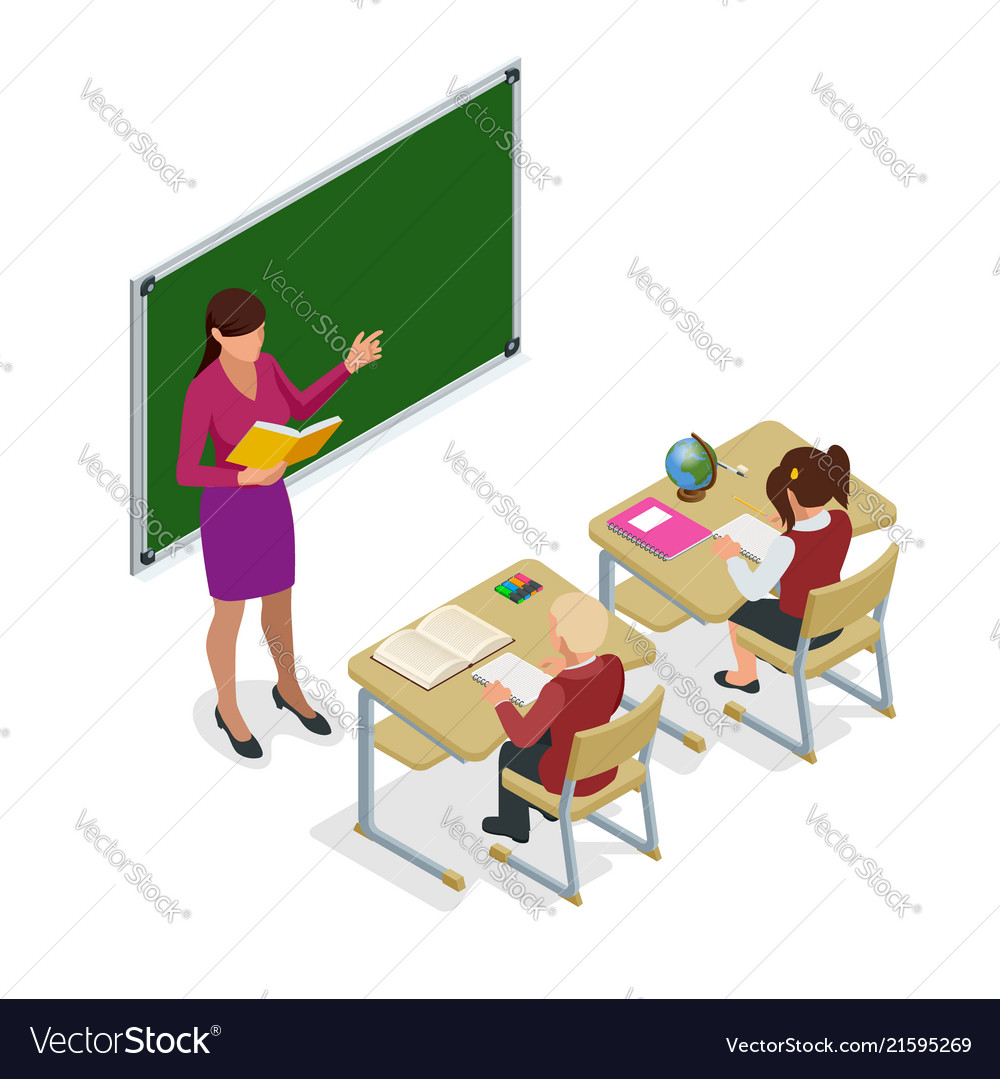 Isometric school children in classroom at lesson