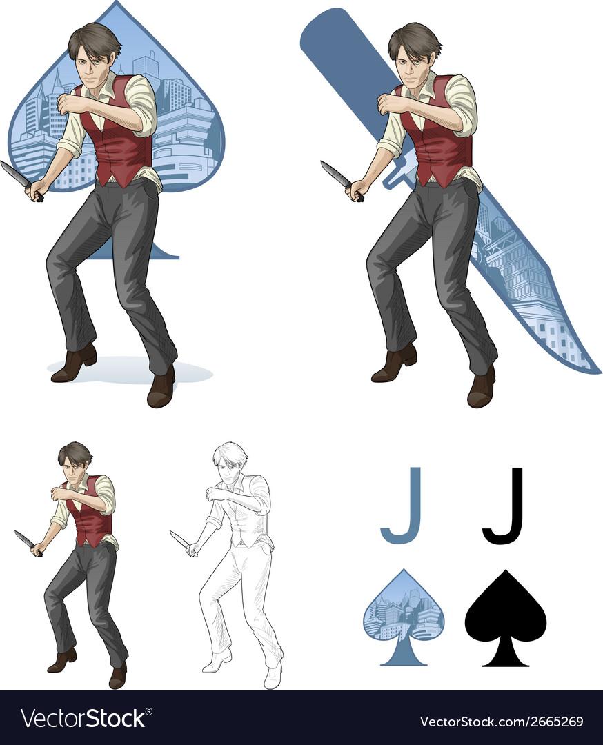 Jack of spades brawling man Mafia card set vector image