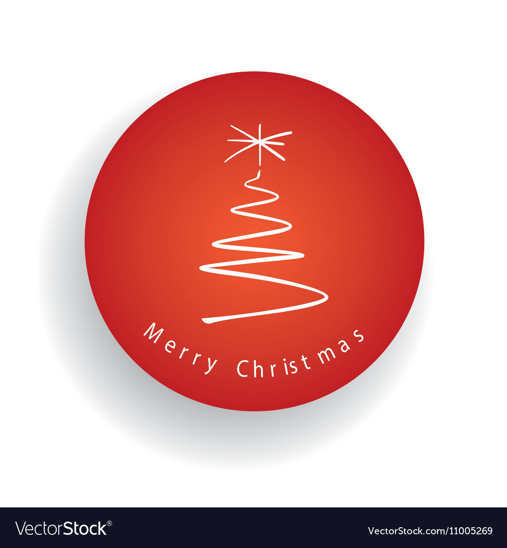 Merry Christmas tree and label in the red circle