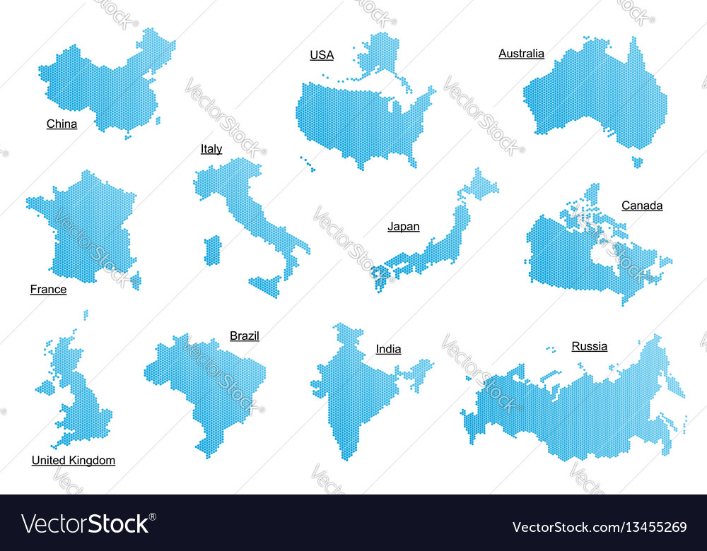 Set of blue countries vector image