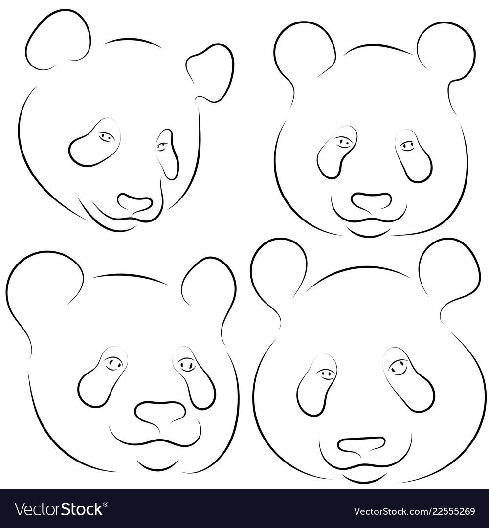 Set of stylized pandas faces hand drawn linear