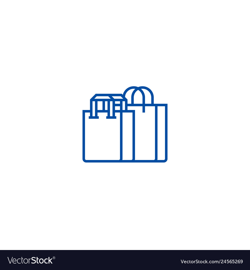 Shopping bags line icon concept shopping bags