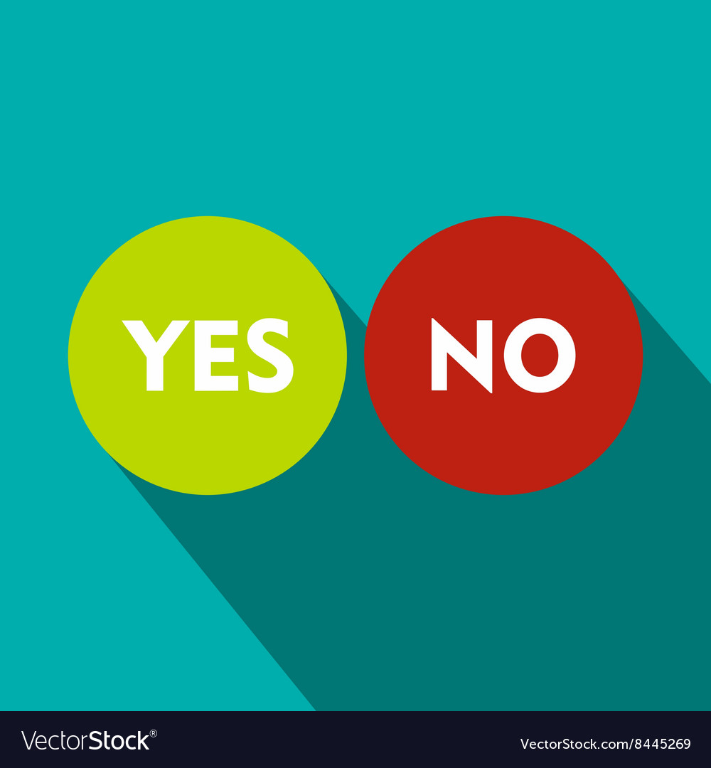 Yes and No icon flat style