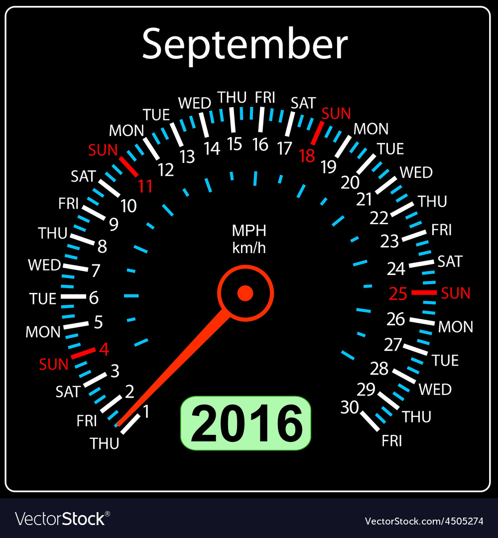 2016 year calendar speedometer car September
