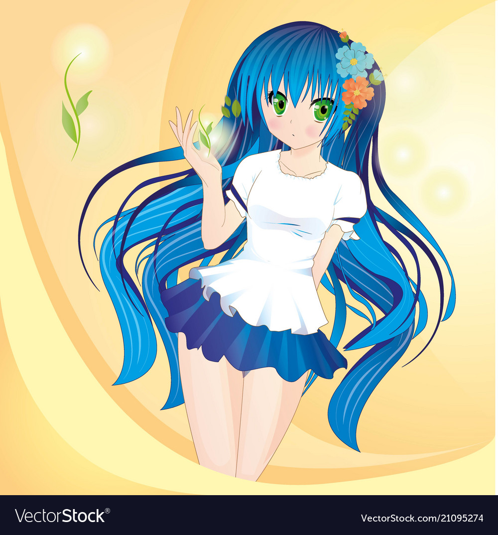 Anime style girl with blue hair and green eyes