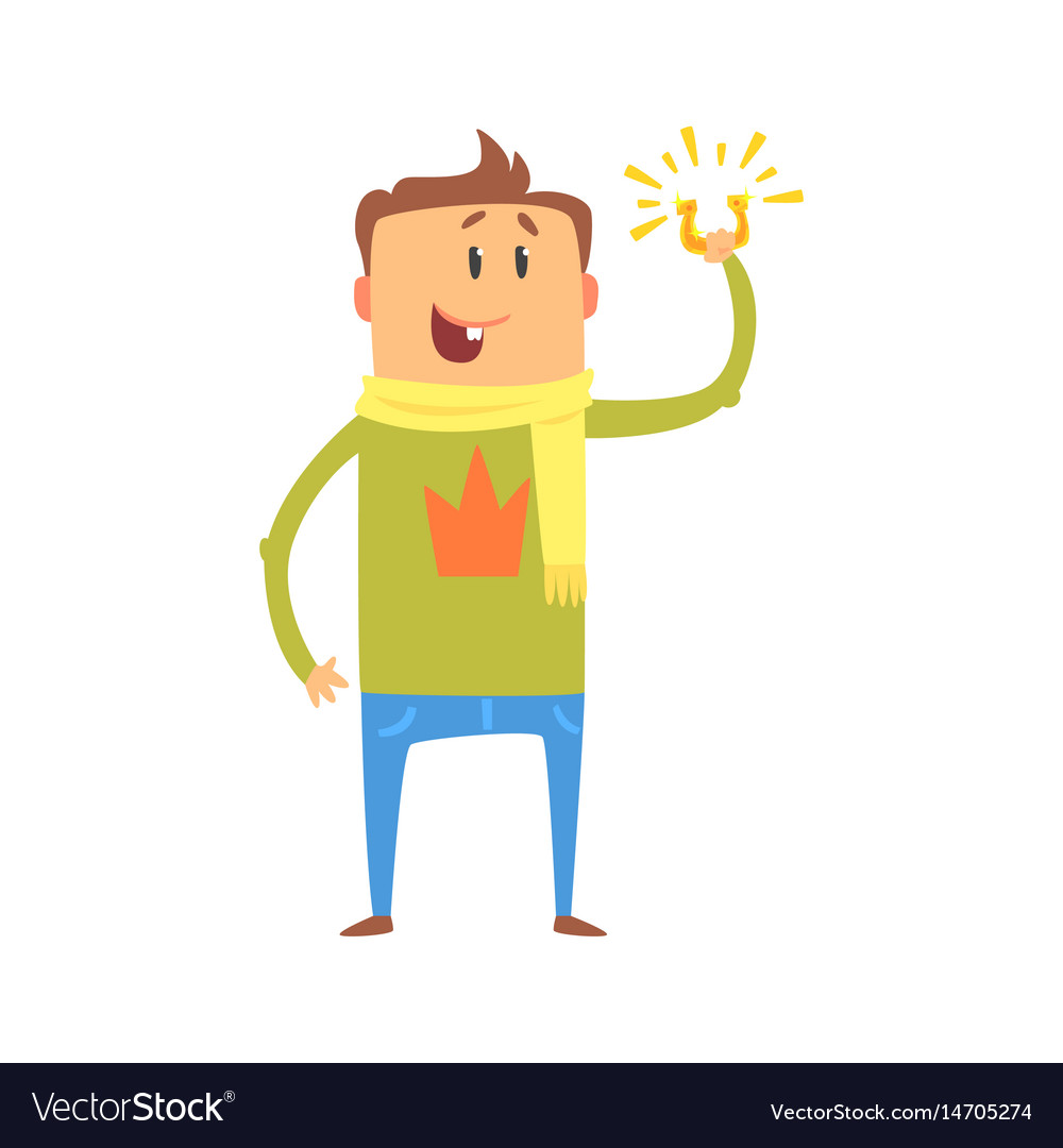 Cartoon man standing and holding horeshoe vector image