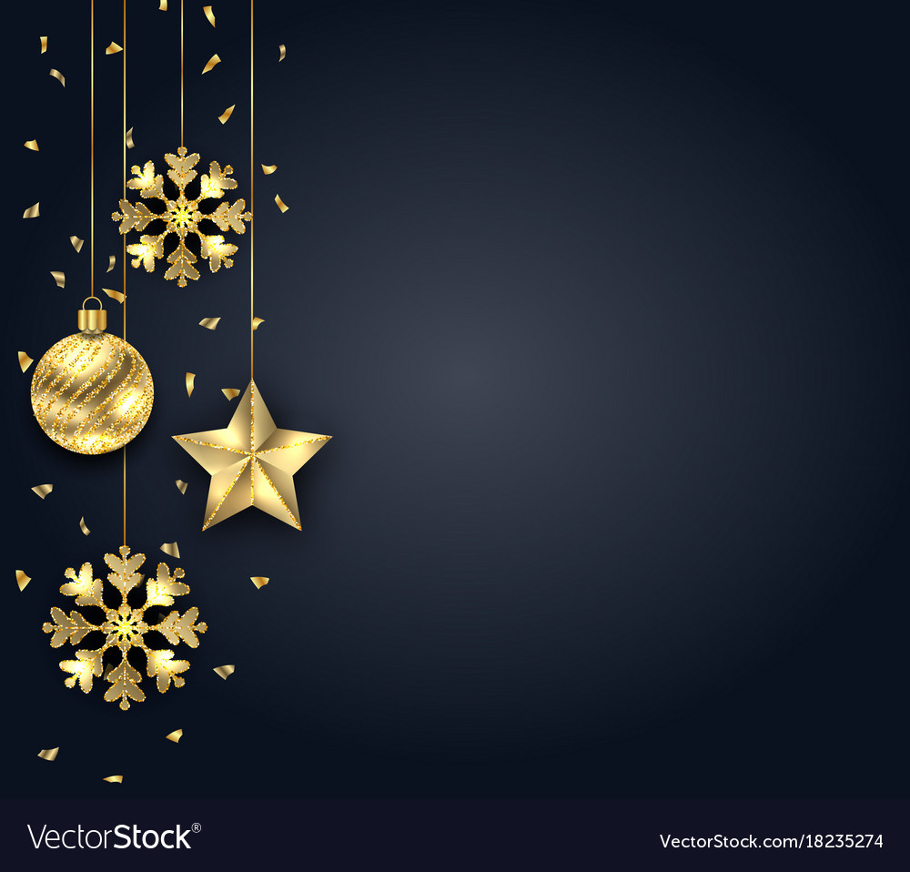 Dark Christmas.Christmas Dark Background With Golden Baubles