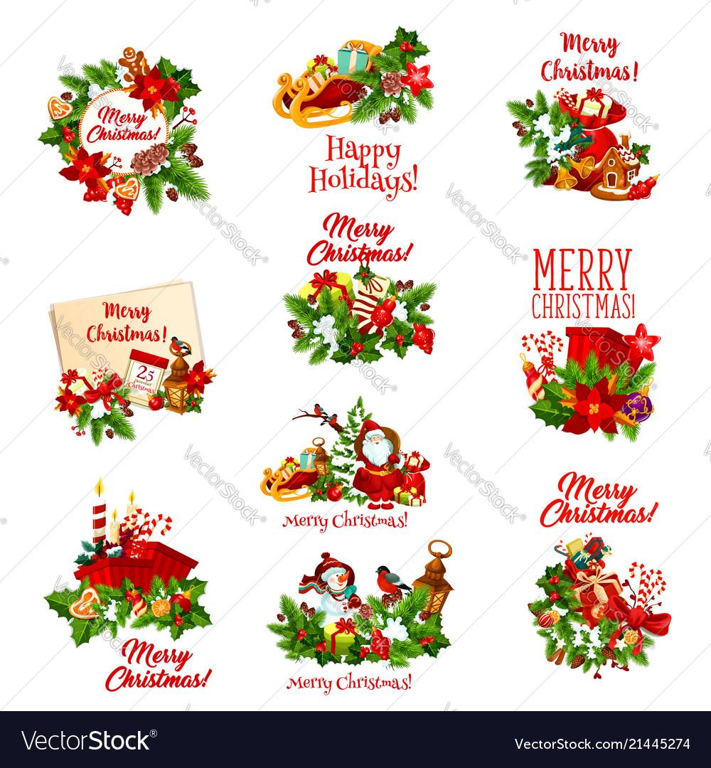 Christmas Holidays Icon.Christmas Holiday Icon Of Santa Snowman And Gift